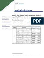 Moody's Local Argentina sube la calificación de emisor en moneda local YPF