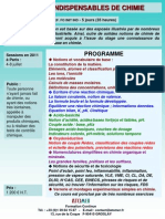 Formation Continue Notions Indispensables de Chimie 2011