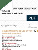 COMPORTAMIENTO DE LOS COSTOS FIJOS Y VARIABLES ANALISIS DE RENTABILIDAD