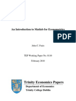 An Introduction to Matlab for Econometrics