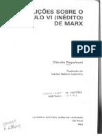 NAPOLEONI, Claudio. Lições Sobre o Capítulo VI (Inédito) de Marx