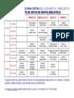 CUADRANTE DE VISITAS DE GRUPOS