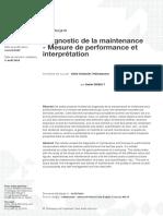 Diagnostic de la maintenance - Mesure de performance et interprétation