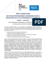APPEL A CANDIDATURES FSPI - 200 STAGES PROFESSIONNELS ICC ET PATRIMOINE 24 JUIN 2021