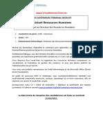Appel à Candidatures Au Poste Dassistant Ressources Humaines