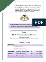 Memoire (Etude Theorique d'Un Distillateur Solaire Simple)-1
