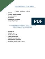 Liste Des Produits à Fournir ALEPE 2019