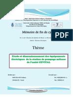 Etude Et Dimensionnement Des Équipements Électriques de La Station de Pompage Mélasse de l%u2019unité CEVITAL