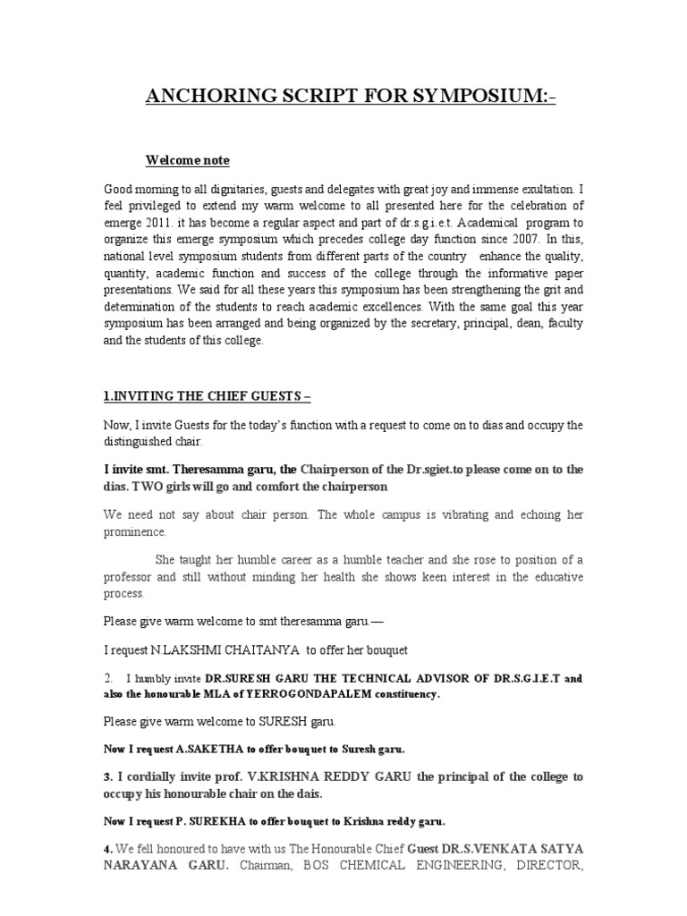 anchoring script for symposium Investiture ceremony anchoring script if your he was admired for his commendable performance at electronics symposium click to download the script.