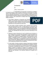Comunicado de Colombia Sobre Visita de CIDH