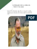 ANALISIS LITERARIO DE LA OBRA EL VIEJO Y EL MAR