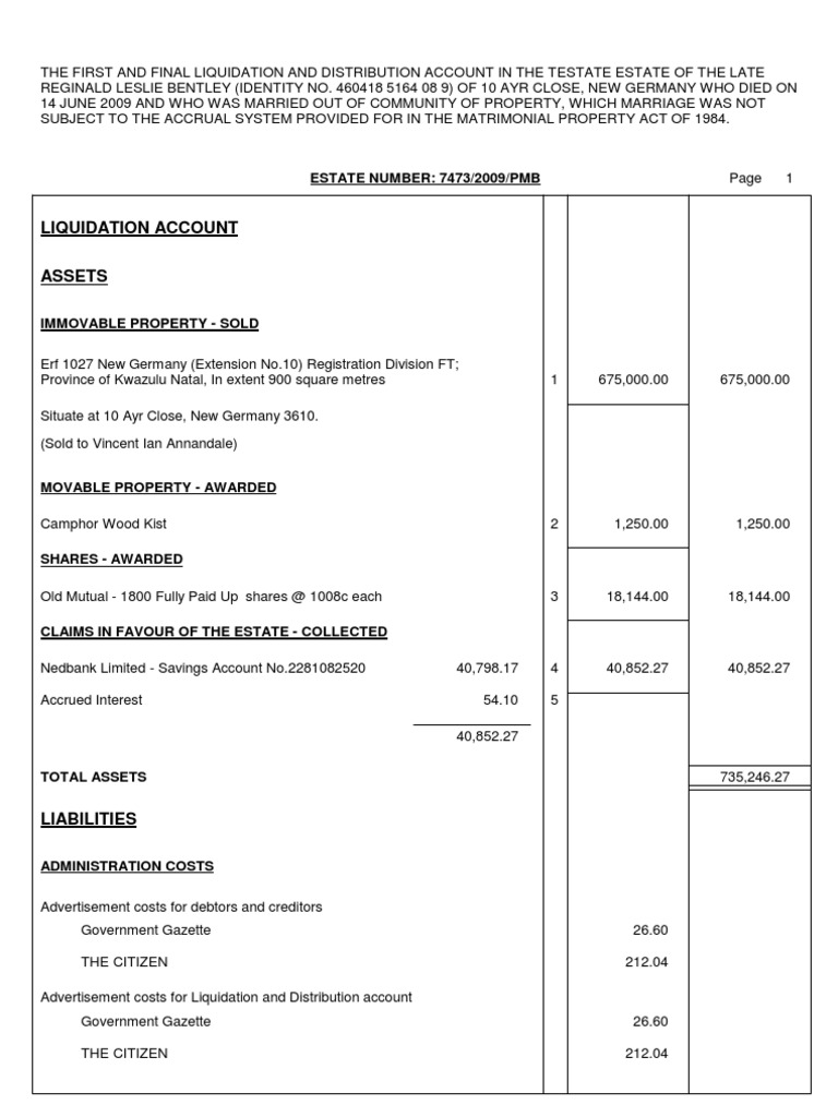 estate accounting template