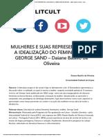 MULHERES E SUAS REPRESENTAÇÕES_ A IDEALIZAÇÃO DO FEMININO EM GEORGE SAND – Daiane Basílio de Oliveira – Litcult