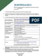 Aviso de Matricula 2021-II - Campus Piura