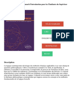 Logique et Philosophie Manuel d'introduction pour les Étudiants du Supérieur Télécharger, Lire PDF