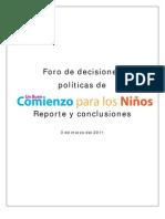 Foro de decisiones políticas de Un buen comienzo para los niños Reporte y conclusiones