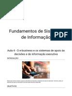 Aula 4 - O e-business e os sistemas de apoio às decisões