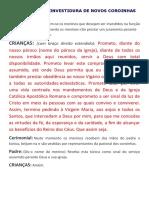 JURAMENTO DA INVESTIDURA DE NOVOS COROINHAS