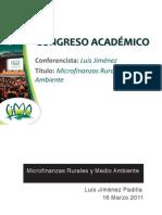 Microfinanzas Rurales y Medio Ambiente - LUIS JIMENEZ