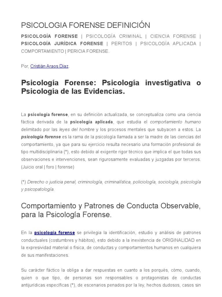 Definicion Y Concepto Para La Psicologia Forense
