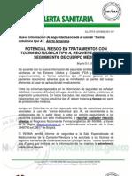 ALERTA INVIMA 001-09_POTENCIAL RIESGO EN TRATAMIENTOS CON TOXINA BOTULÍNICA TIPO A, REQUIERE ESTRICTO SEGUIMIENTO DE CUERPO MÉDICO
