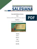 Universidad Politécnica Salesiana ECUACIONES DIFERENCIALES