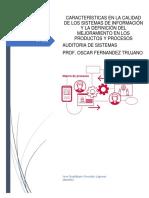 Aracterísticas en La Calidad de Los Sistemas de Información y La Definición Del Mejoramiento en Los Productos y Procesos