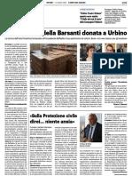Biblioteca della Barsanti donata a Urbino / Il gallo del Teatro per Urbino Teatro Urbano - Il Resto del Carlino dell'8 luglio 2021