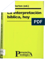 La Interpretacion Biblica Hoy - Barton, John