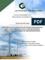 INFLUENCIA DE LOS MÉTODOS ESTÁTICOS EQUIVALENTES PARA CARGA DE VIENTO EN EL COMPORTAMIENTO ESTRUCTURAL DE TORRES DE AEROGENERADORES