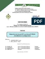 MEMOIRE. Pour l Obtention Du Diplôme de Master en Télécommunications THEME. Migration Du Réseau RTC Au Réseau IP MSAN Installation Et Configuration