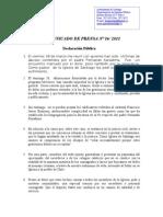 COMUNICADO DE PRENSA Nº 16
