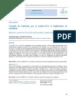 Contrôle de l'infection par le SARS-CoV2 et implications en anesthésie
