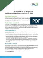 Leitfaden für das Green Start-up-Programm der Deutschen Bundesstiftung Umwelt (DBU)