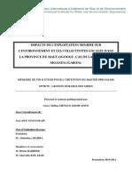 IMPACTS DE L'EXPLOITATION MINIERE SUR L'ENVIRONNEMENT ET LES COLLECTIVITES LOCALES DANS LA PROVINCE DU HAUT-OGOOUE