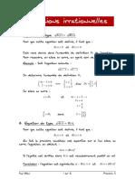 01 Fiche Sur Les Equations Irrationnelles