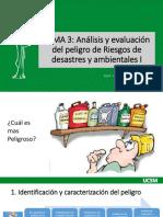Tema 3, Análisis y evaluación del peligro de Riegos de desastres