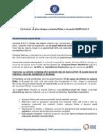 Varianta Delta- informare de presa, 07.07.2021