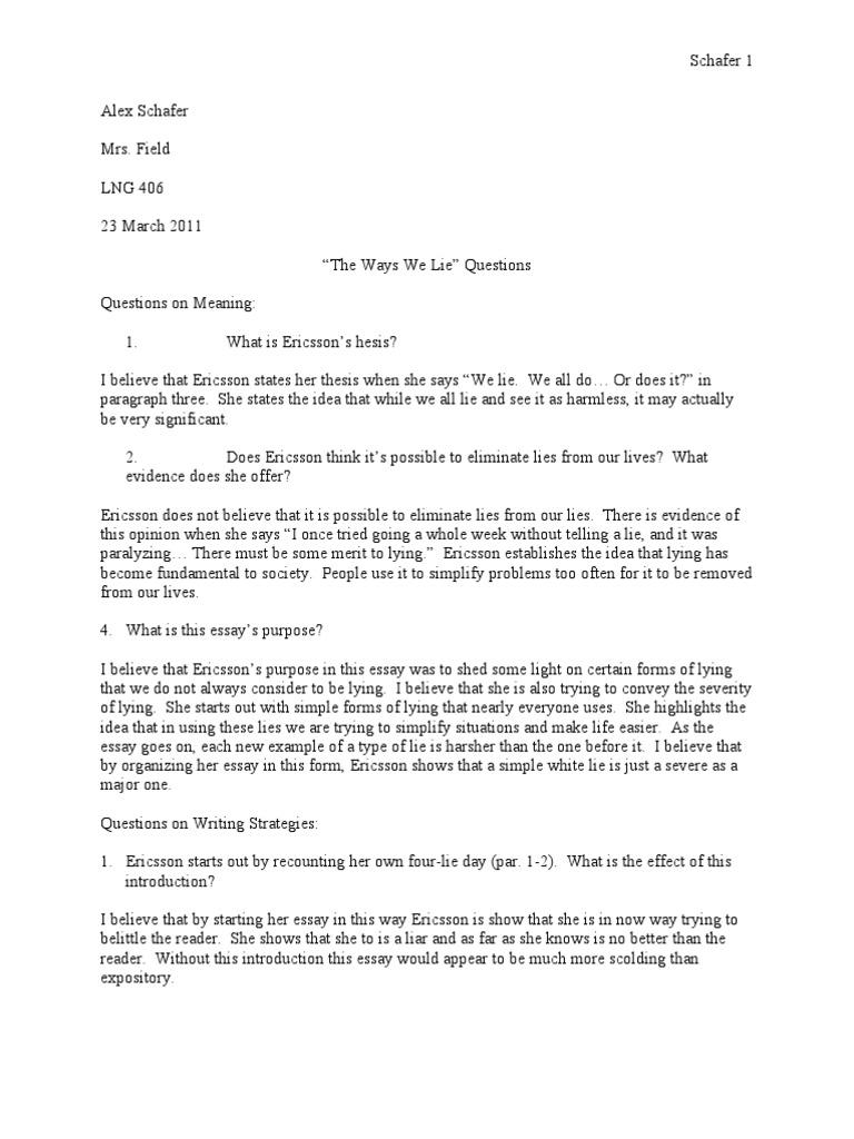 The ways we lie lie essays