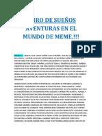 LIBRO DE SUEÑOS AVENTURAS EN EL MUNDO DE MEME