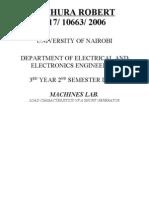 Load characteristics of a shunt generator
