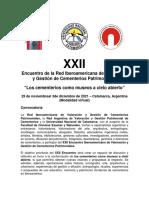 Convocatoria XXII Encuentro Iberoamericano de Cementerios Patrimoniales Catamarca 2021