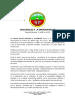 COMUNICADO A LA OPINION PUBLICA Chigorodo 2011
