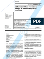 NBR 13570 - Instalacoes eletricas em locais de afluencia de publico - Requisitos especificos