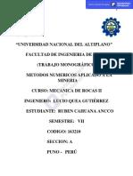 TRABAJO MONOGRAFICO DE METODOS NUMERICOS APLICADOS A LA MINERIA