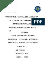 TRABAJO MONOGRAFICO DE METODOS NUMERICOS APLICADOS A LA MINERIA (1)