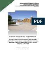 ESTUDIO DE SUELOS PAVIMENTACION ASOC CENTRO DE SERVICIOS SAN ISIDRO