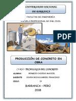 PRODUCCIÓN DE CONCRETO EN OBRA