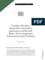 DE LISIO, A. Cambio climático, desarrollo sostenible y gobernanza ambiental. Retos de la integración Latinoamericana-Caribeña