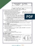 Devoir de Contrôle N°1  Avec correction - Sciences physiques - Bac Mathématiques (2013-2014) Mr Sadki Ezzeddine (1)